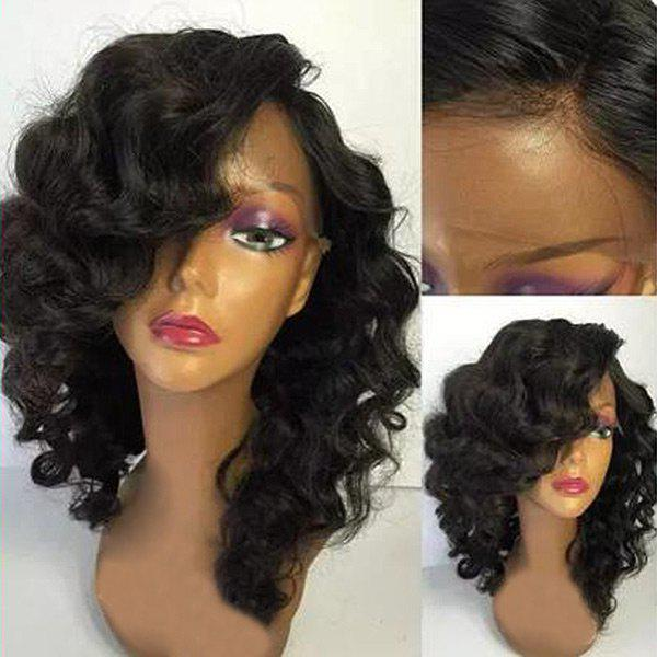 Medium Side Parting Shaggy Body Wave Synthetic Lace Front Wig - BLACK