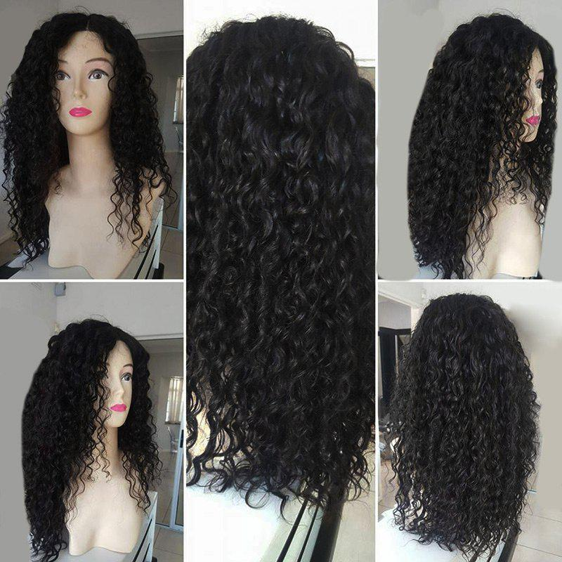 Long Side Parting Fluffy Water Wave Synthetic Wig - BLACK
