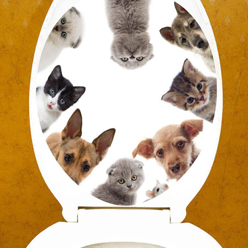 3D Cat and Dog Bath Decor Toilet Sticker - BROWN 12.6*15.4 INCH