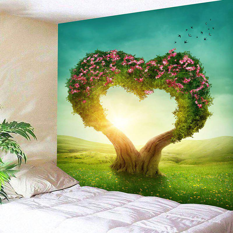 Valentine's Day Heart Tree Print Wall Tapestry valentine s day heart starlight print tapestry wall hanging decoration
