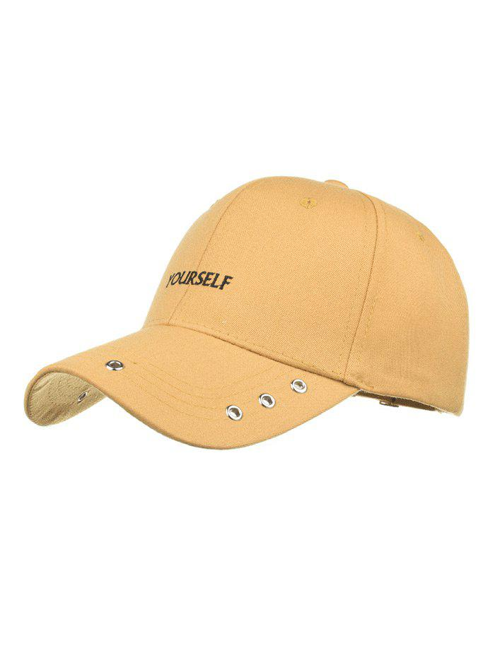 YOURSELF Embroidered Grommet Baseball Hat - YELLOW