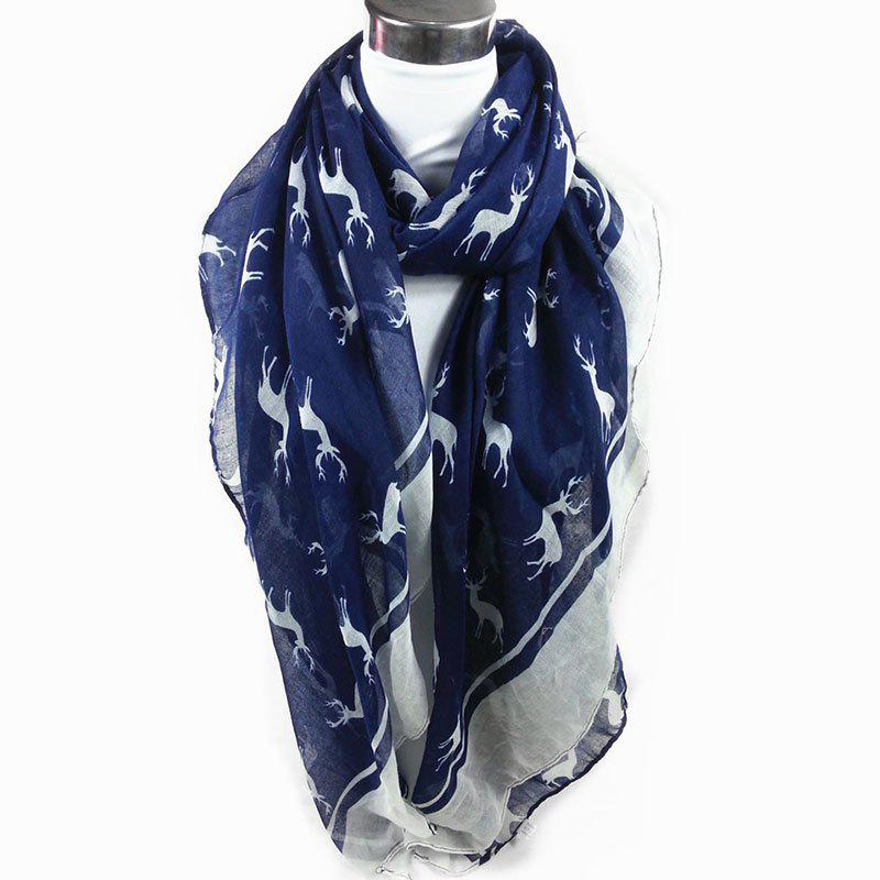 Elk Pattern Embellished Sheer Scarf - CADETBLUE