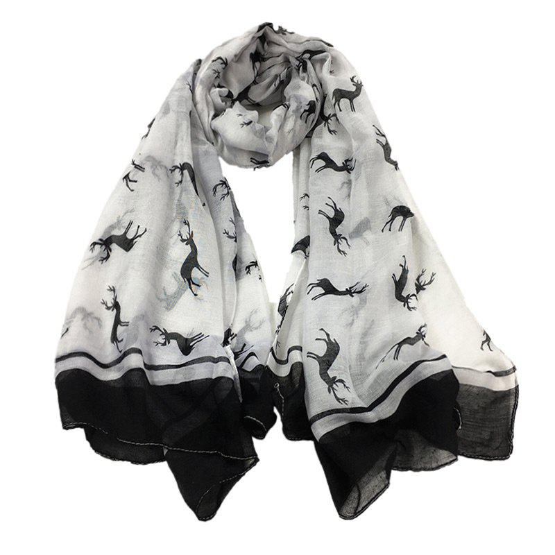 Elk Pattern Embellished Sheer Scarf - WHITE