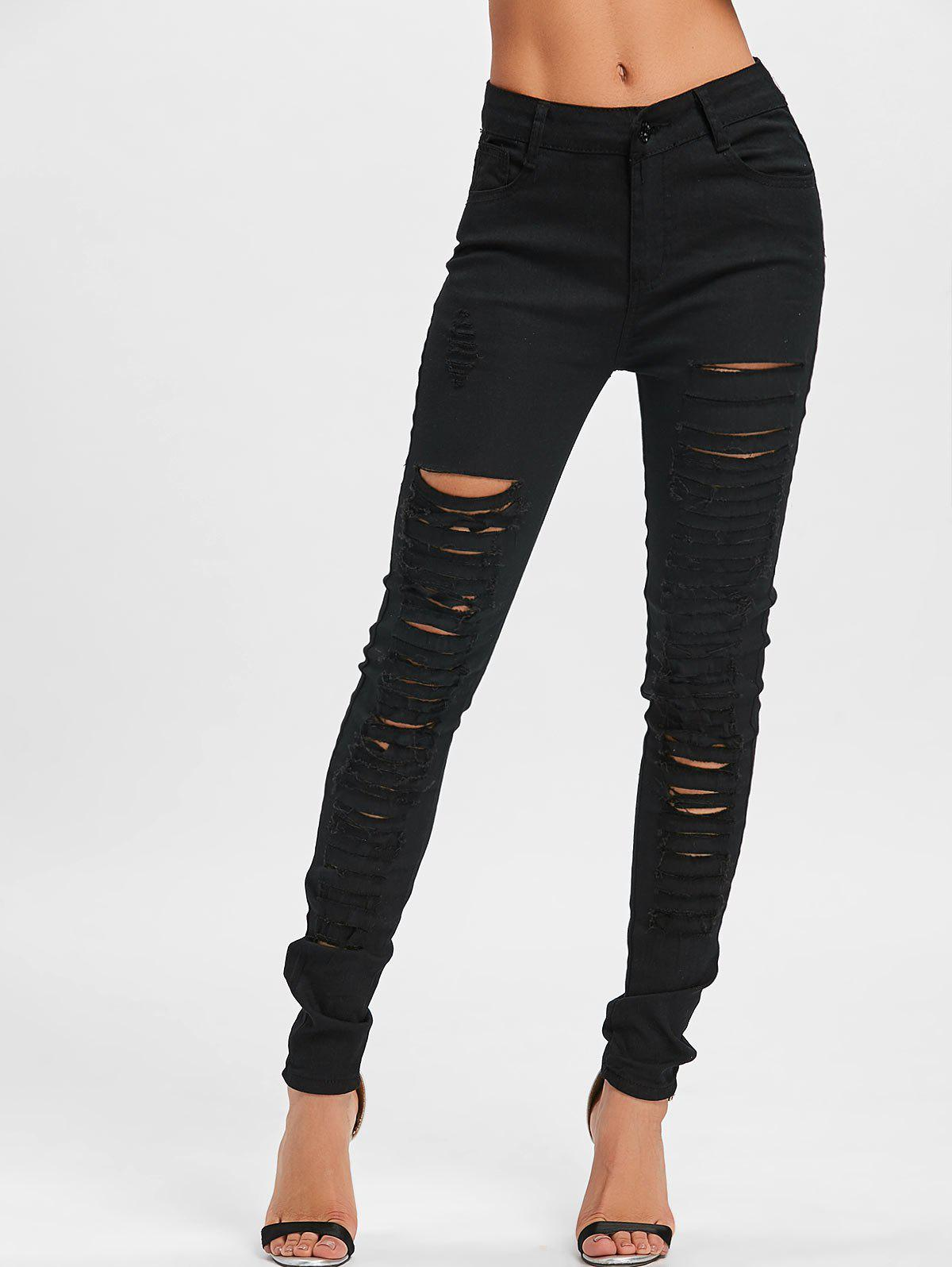 Pockets Distressed Skinny Pants - BLACK L
