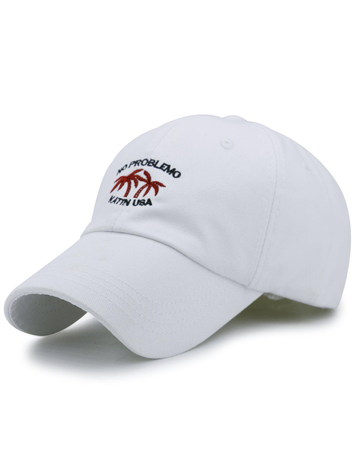 Coconut Tree Embroidery Adjustable Sunscreen Hat - WHITE