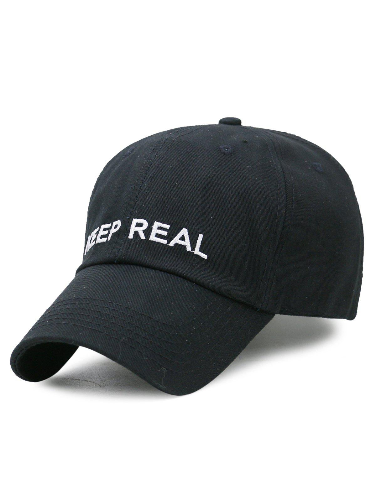 Casquette de Baseball Réglable Motif KEEP REAL Style Simple - Noir