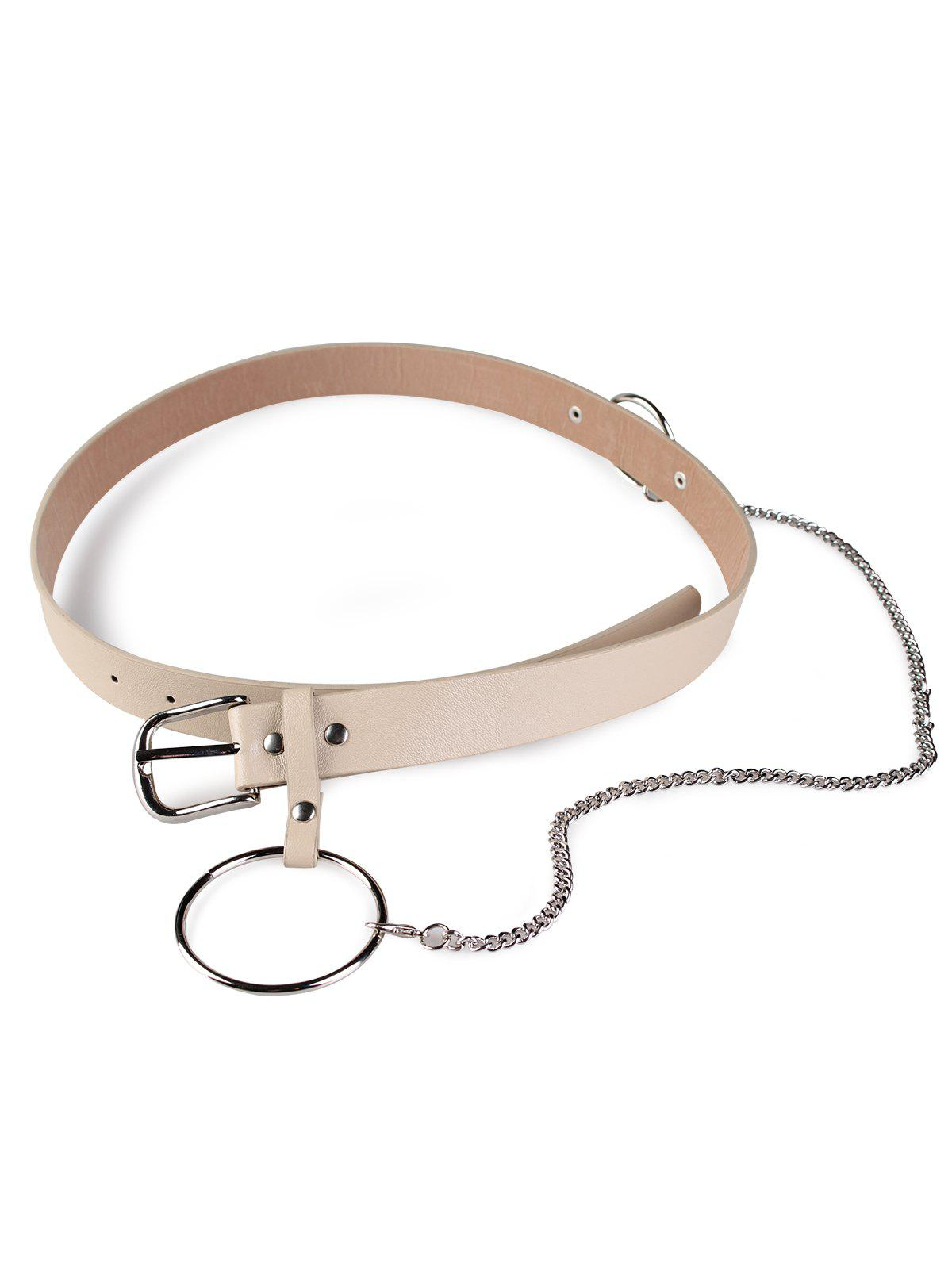 Large Hoop Chain Wide Pin Buckle Belt - KHAKI
