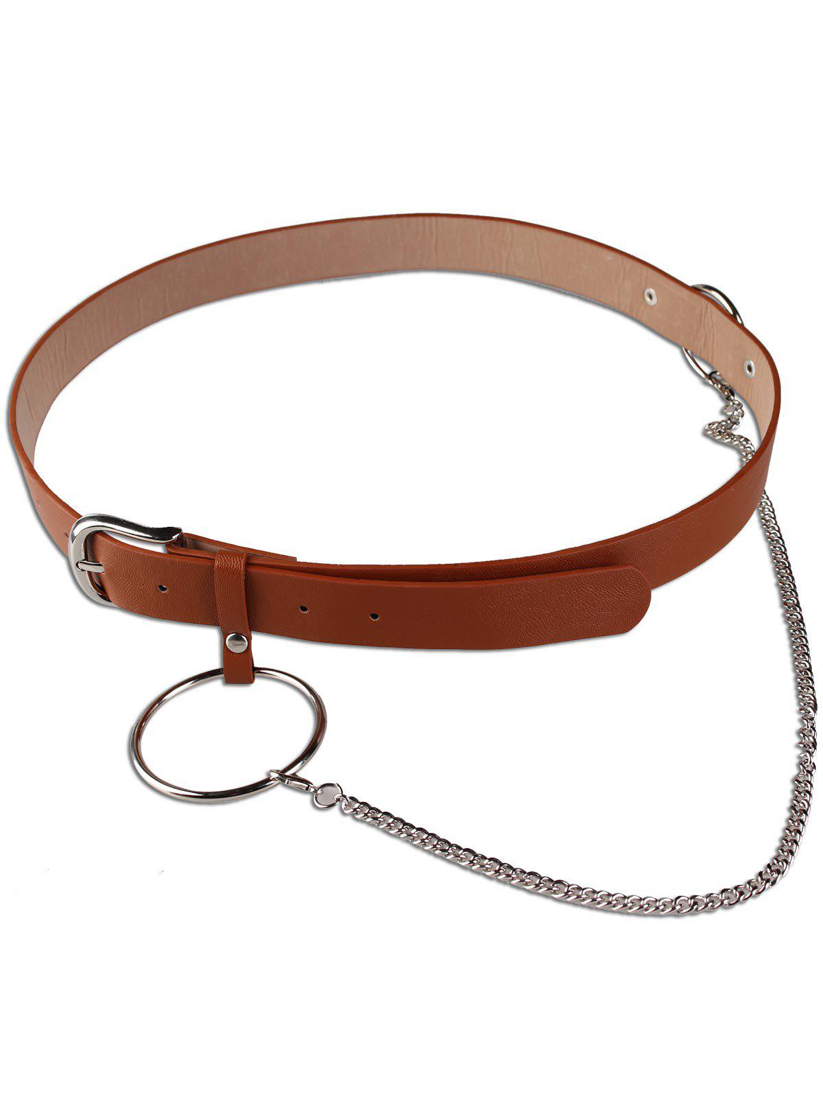 Large Hoop Chain Wide Pin Buckle Belt - BROWN