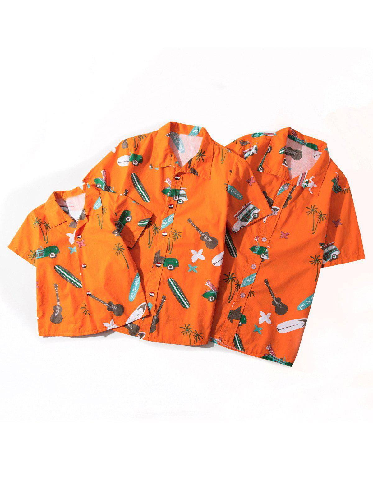 Matching Family Hawaiian Cartoon Print Shirt - ORANGE KID L