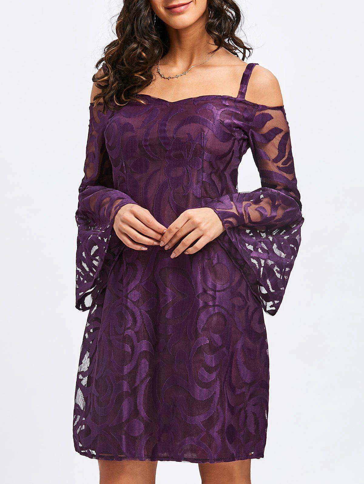 Bell Sleeve Cold Shoulder Lace Dress - PURPLE M