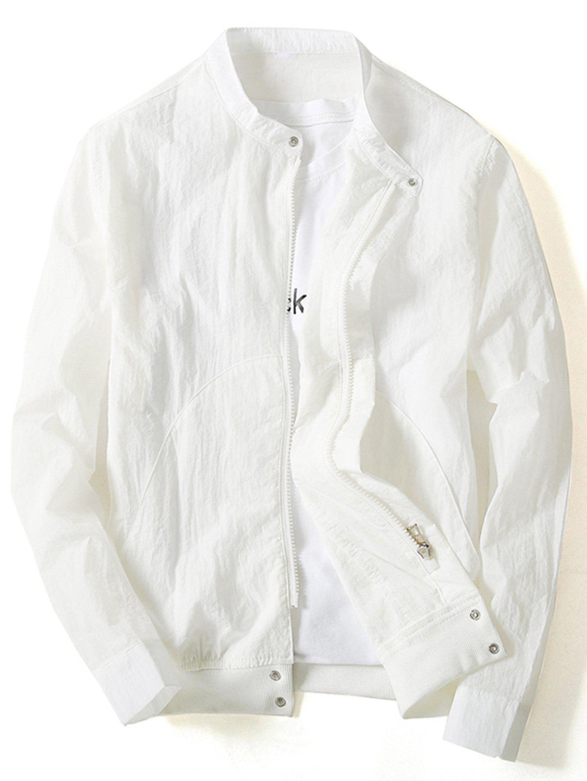 Zip Up Rib Panel Lightweight Jacket - WHITE 4XL
