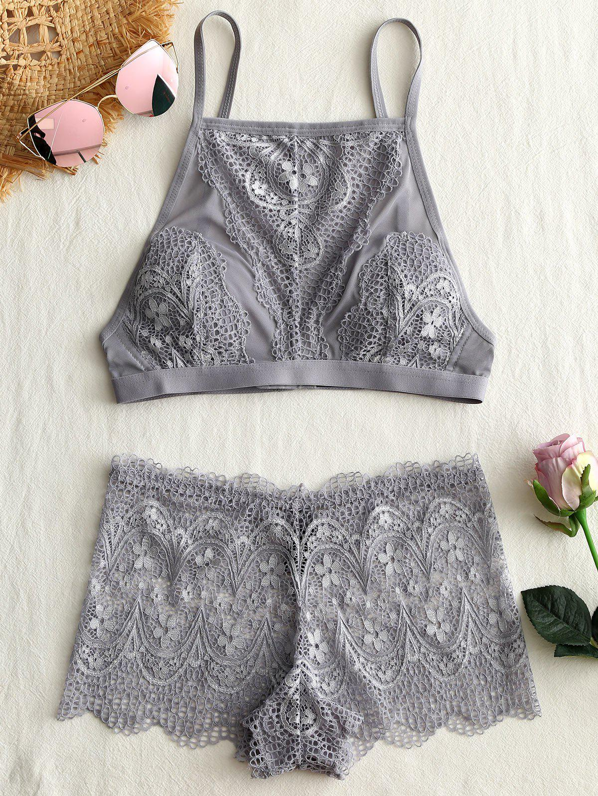 Lace See Thru Cami Bra Set - GRAY 75C
