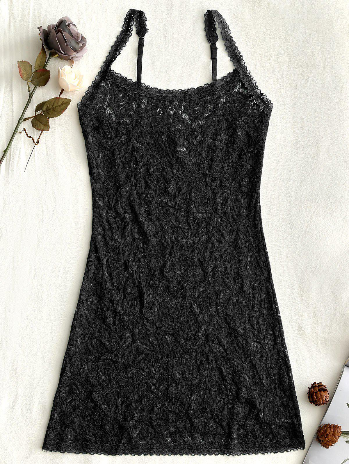 Lingerie Lace Sheer Slip Babydoll - BLACK ONE SIZE