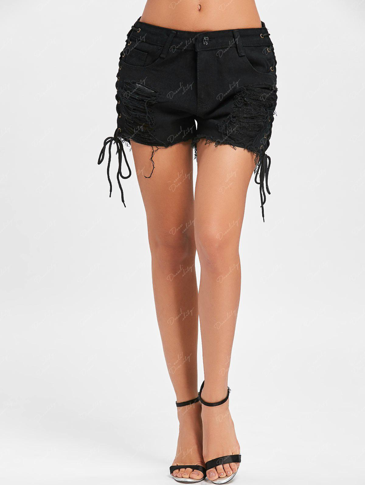 Side Lace Up Distressed Shorts - BLACK 2XL