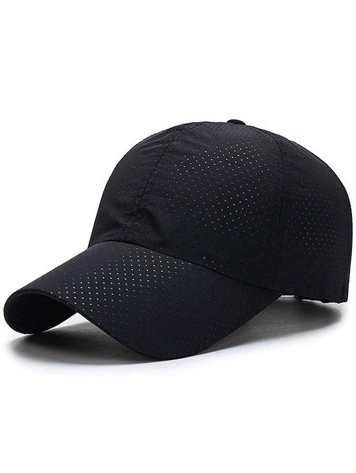 Outdoor Solid Color Pattern Breathable Baseball Cap - BLACK