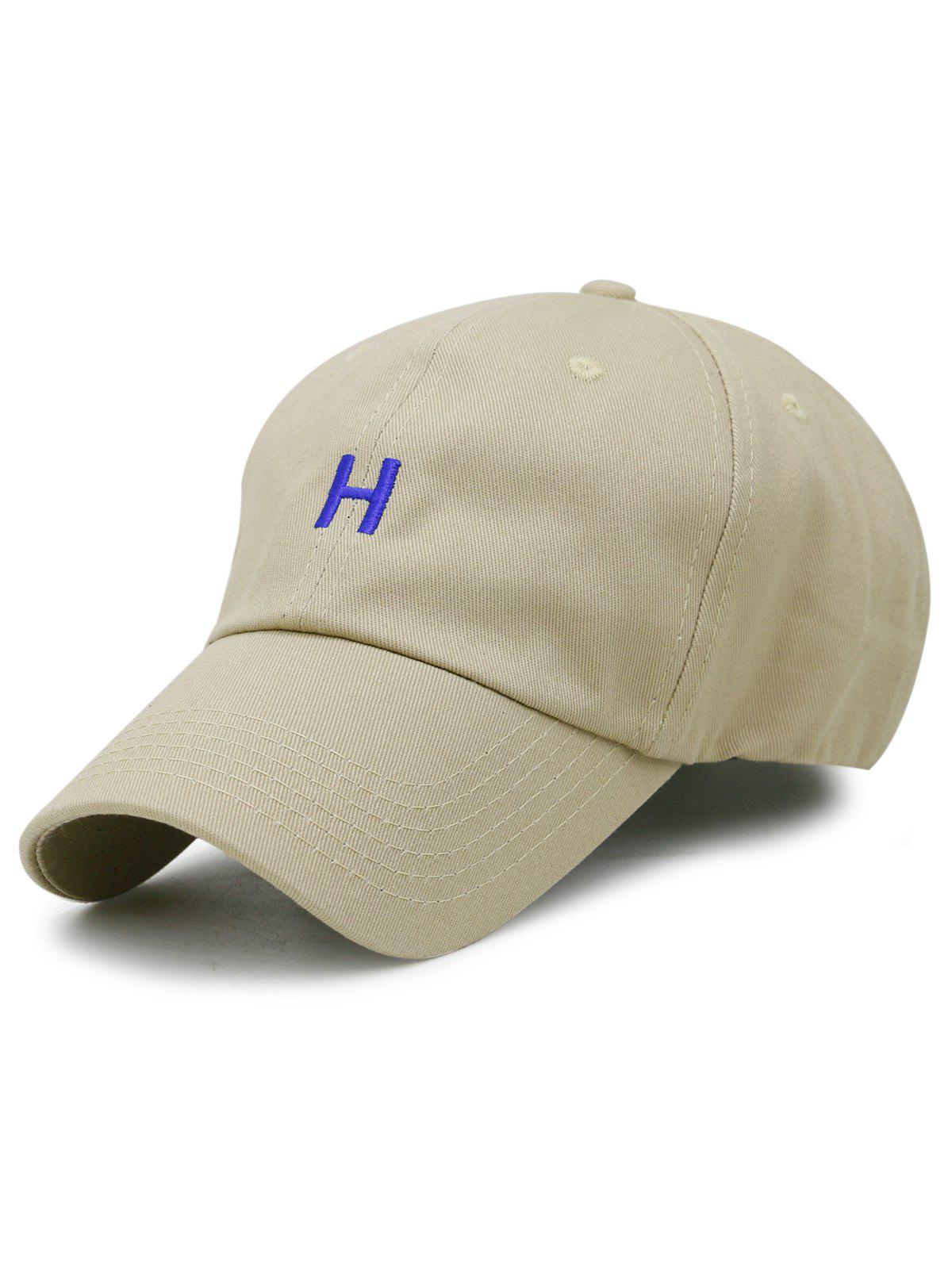 Simple H Embroidery Adjustable Baseball Cap - KHAKI