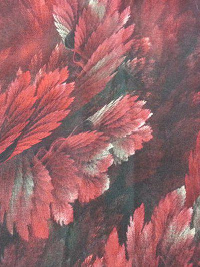 Vintage Coralline Leaves Pattern Silky Long Scarf - WINE RED