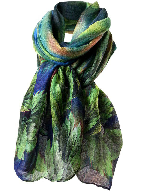 Vintage Coralline Leaves Pattern Silky Long Scarf - BLUE