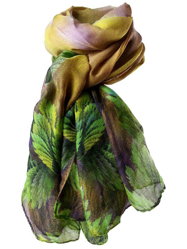 Vintage Coralline Leaves Pattern Silky Long Scarf - PURPLE