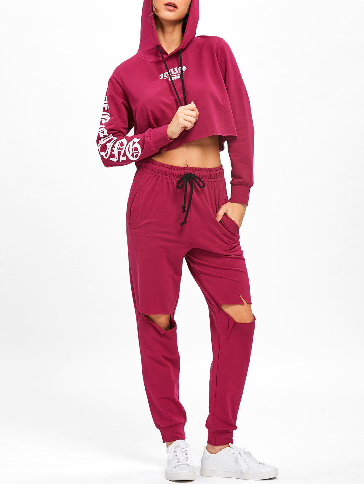 Distressed Cropped Hoodie and Drawstring Pants - PURPLISH RED S