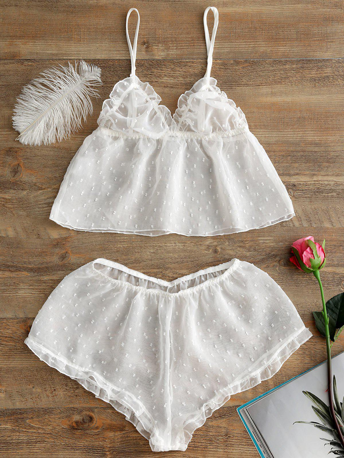Chiffon Sheer Cami Lingerie Set - WHITE ONE SIZE