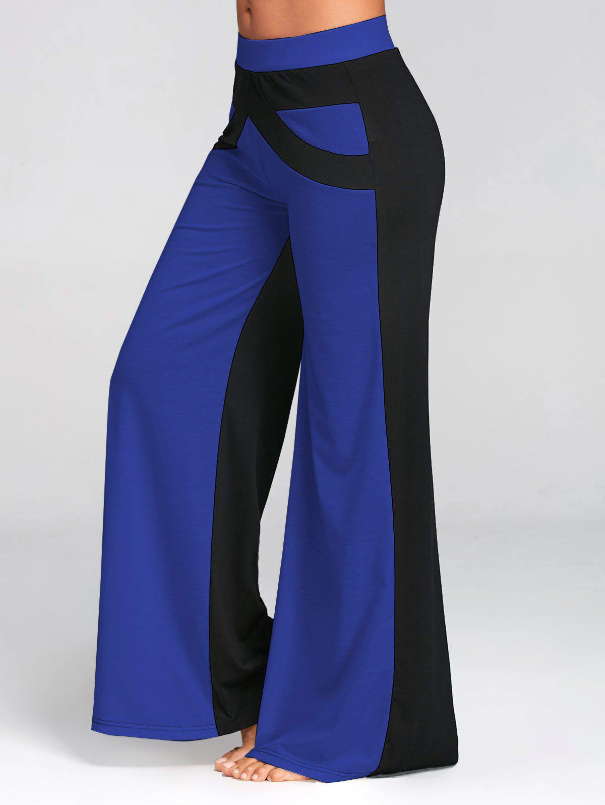 Color Block Wide Legged Pants - BLUE L