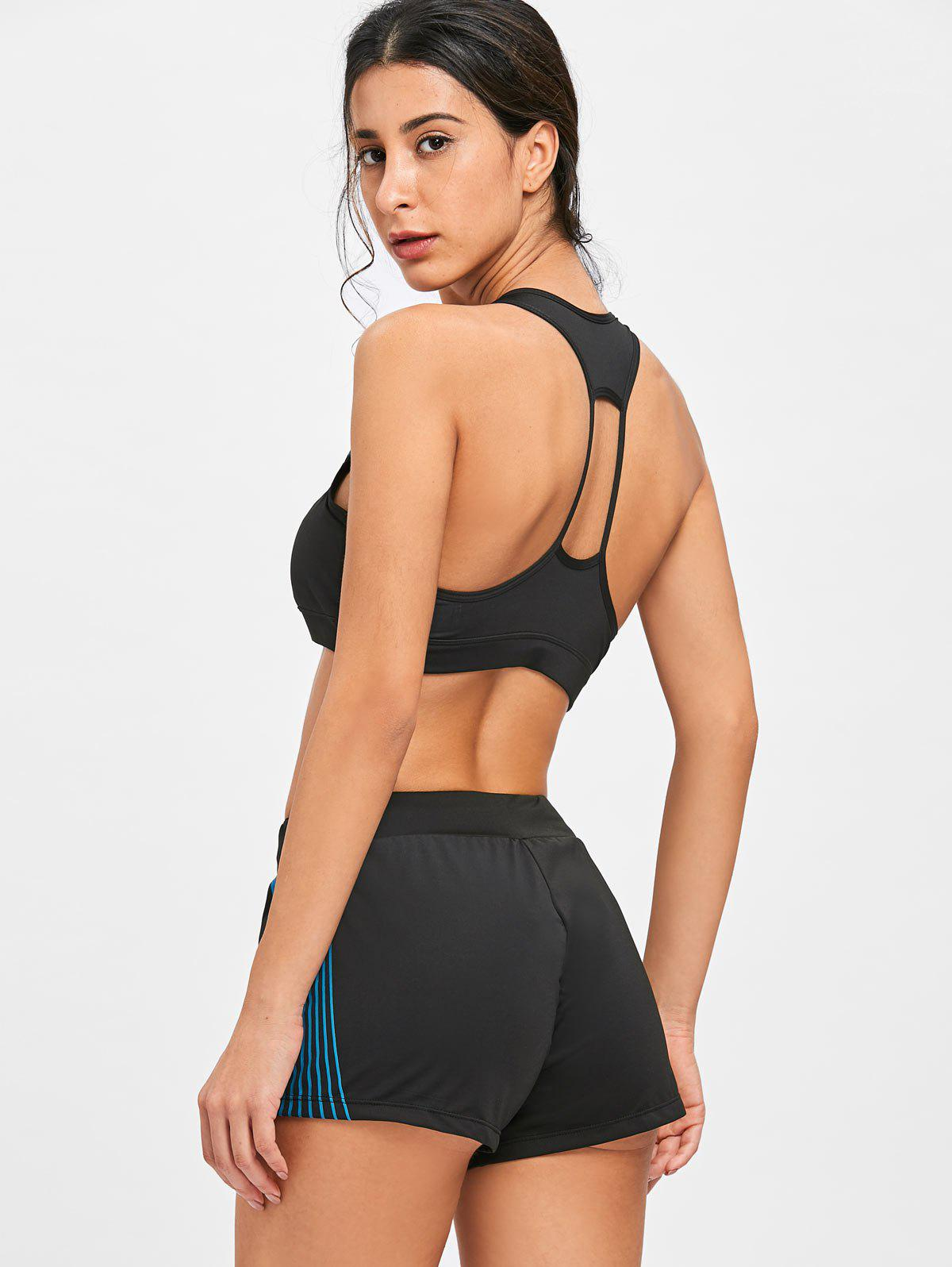 Striped Bra and Shorts Sports Suit - BLUE/BLACK M