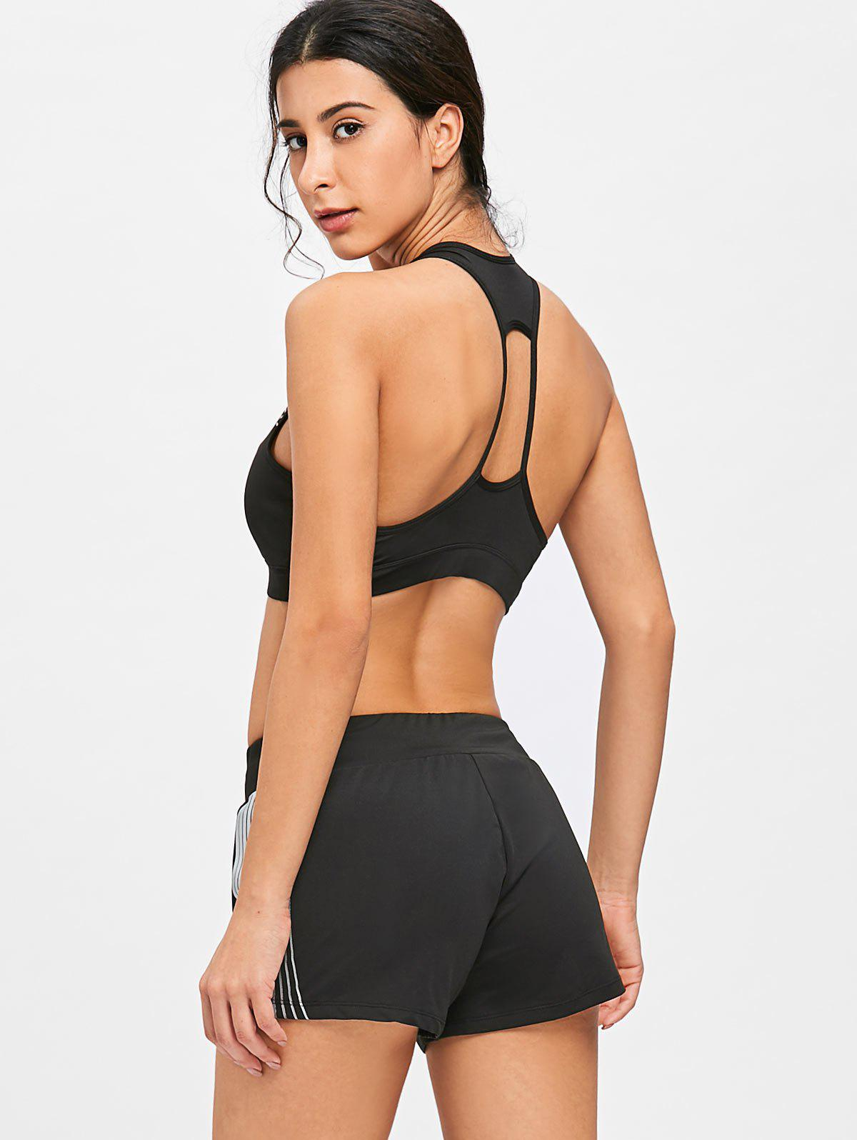 Striped Bra and Shorts Sports Suit - BLACK L
