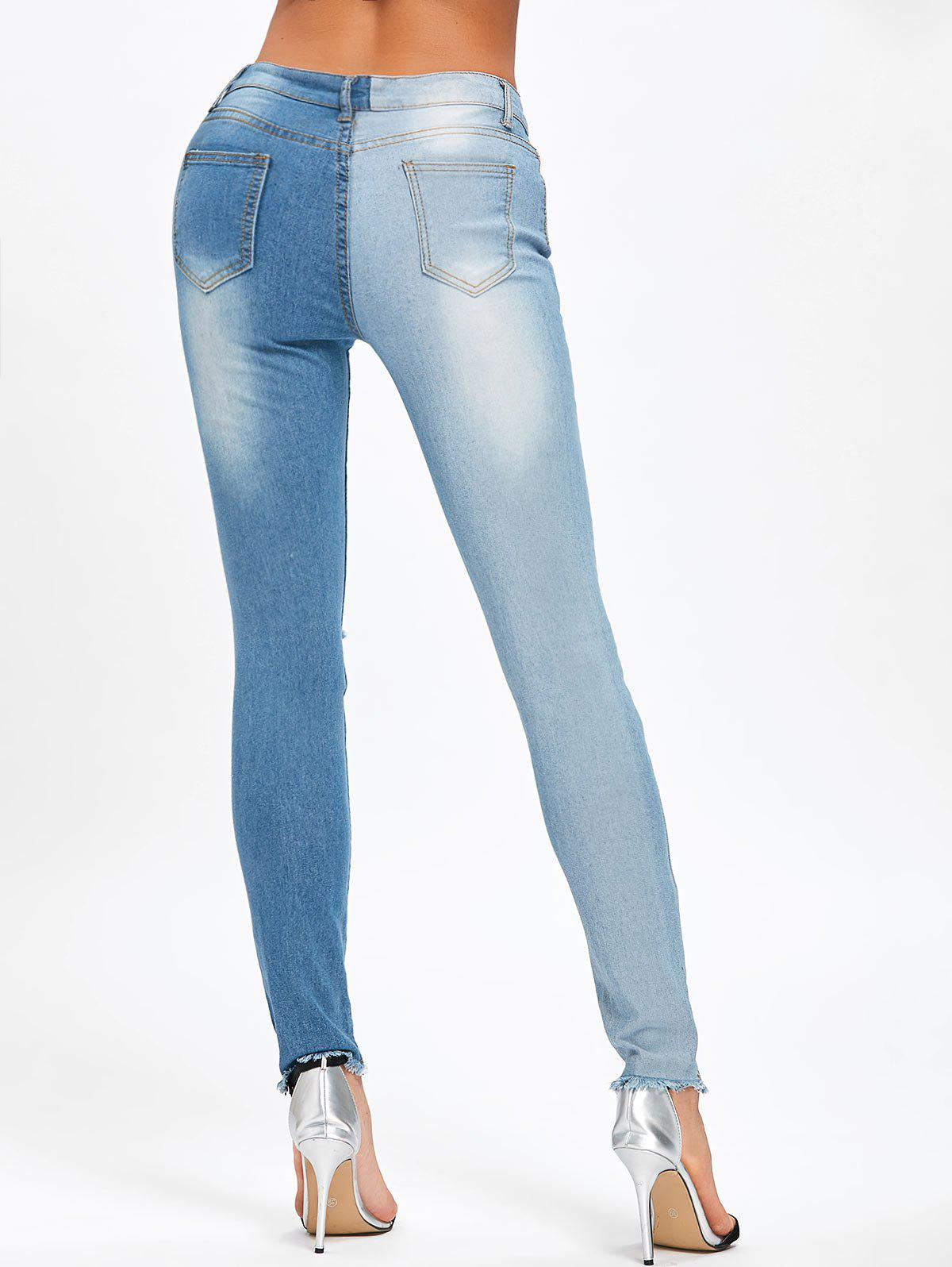 Ripped Two Tone Color Jeans - BLUE XL