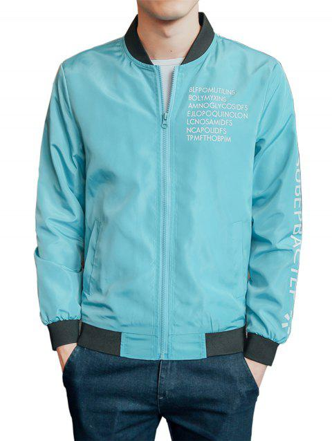 Rib Zip Up Graphic Print Lightweight Jacket - AZURE 4XL