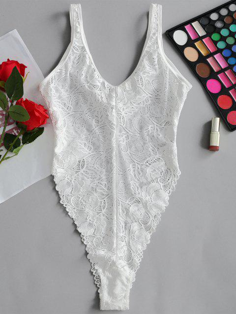 Valentine Sheer Lace High Cut Bodysuit - WHITE M