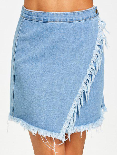 Button Fly Frayed Hem Jean Skirt - DENIM BLUE XL