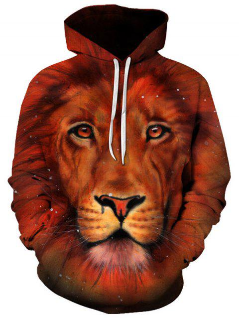 Sweat à Capuche Pull-over 3D Lion Poche Kangourou - Brun L