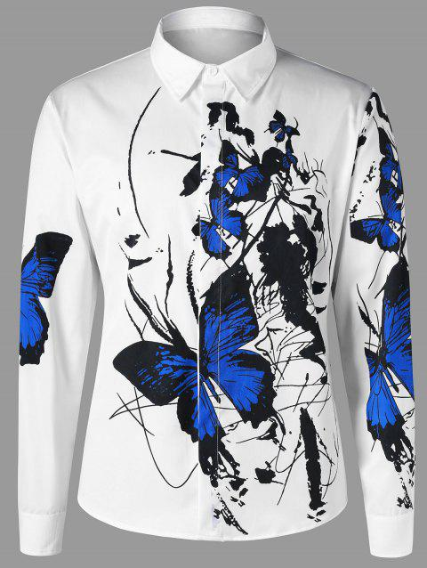 Butterfly Pattern Shirt - BLUE/WHITE M