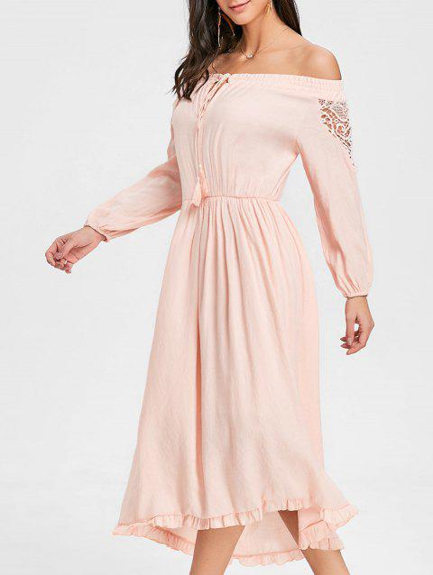 High Low Off The Shoulder Maxi Dress - PINK L