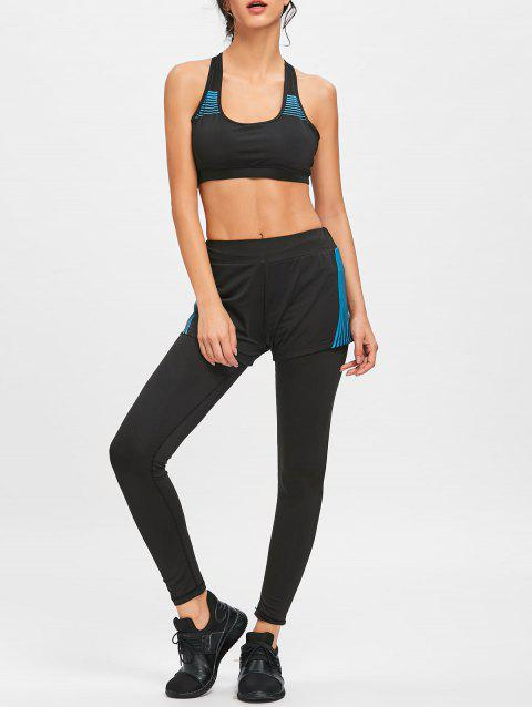 Striped Shorts Bra and Legging Sports Set - BLUE/BLACK M