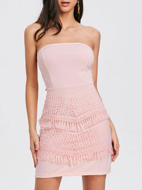 Bow Crochet Insert Tube Dress - PINK S