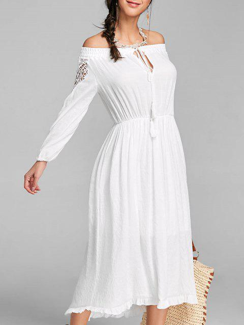 High Low Off The Shoulder Maxi Dress - WHITE S