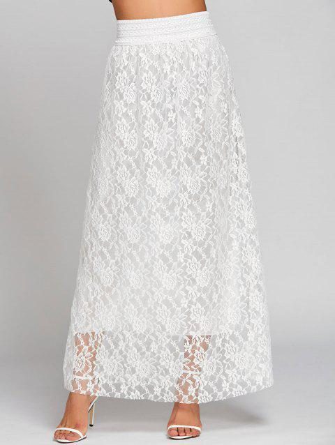 High Waist Lace Maxi Skirt - WHITE S