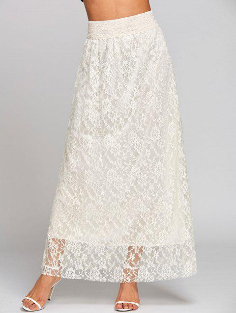 a4542069ad428 41% OFF] 2019 High Waist Lace Maxi Skirt In OFF WHITE | DressLily