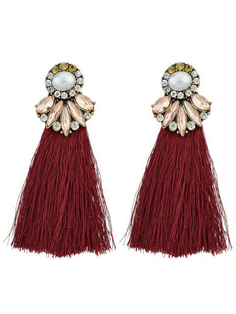 Tassel Faux Pearl and Crystal Drop Earrings - RED