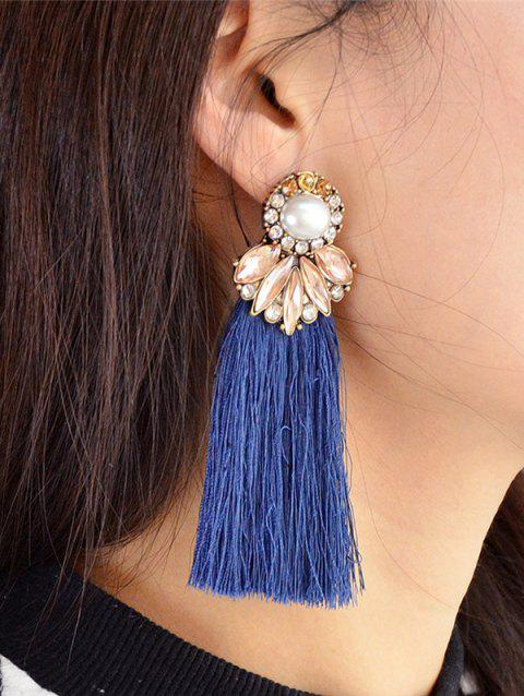 Tassel Faux Pearl and Crystal Drop Earrings - BLUE