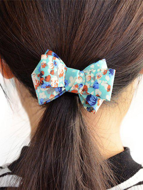 Floral Bowknot Decorated Elastic Hair Band - BLUE