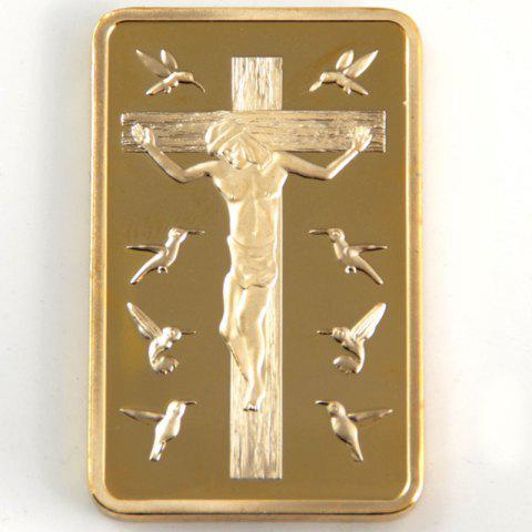 Gold Plated Rectangle Shape Bar Jesus Cross Commemorative Coin - GOLDEN 45*30*3MM