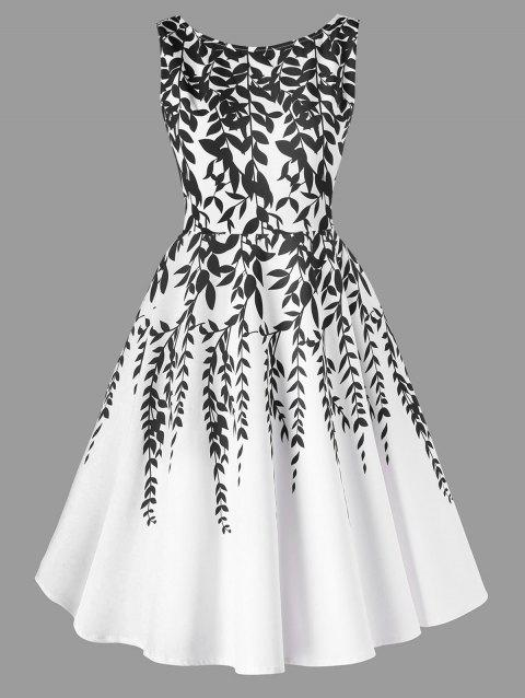 Salix Leaf Printed Sleeveless Flare Dress - WHITE 2XL