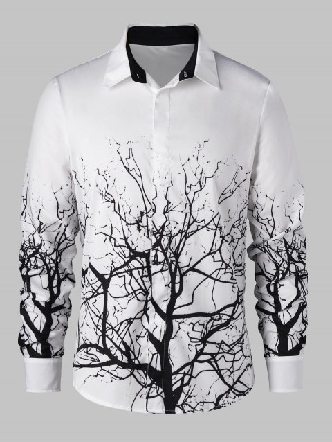 Tree Branch Pattern Shirt - WHITE/BLACK 2XL