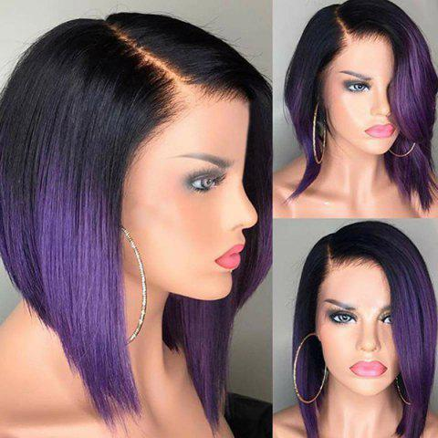 Short Side Parting Straight Ombre Bob Heat Resistant Synthetic Wig - GRADUAL PURPLE