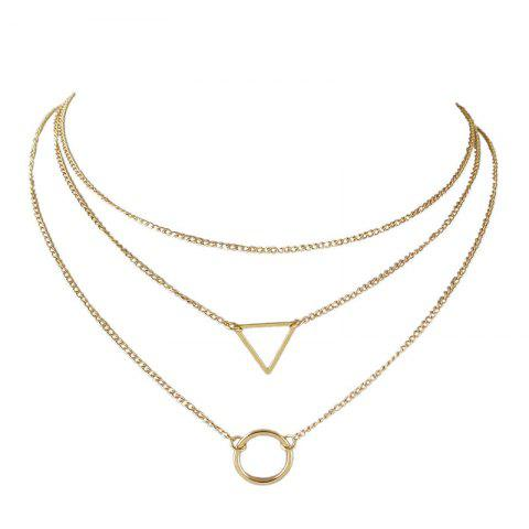 Layered Metal Circle Triangle Pendant Necklace Set - GOLDEN