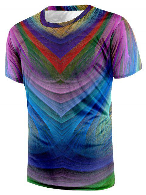 Crew Neck Short Sleeve Colorful Tee - COLORMIX L