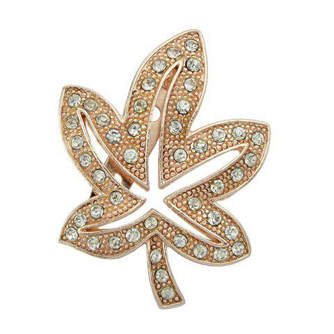 Faux Diamond Inlay Maple Leaf Shape Brooch - ROSE GOLD